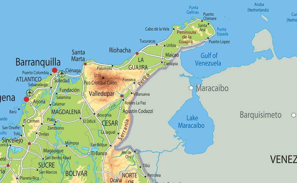 Colombia Physical Map I Love Maps - Aruba physical map
