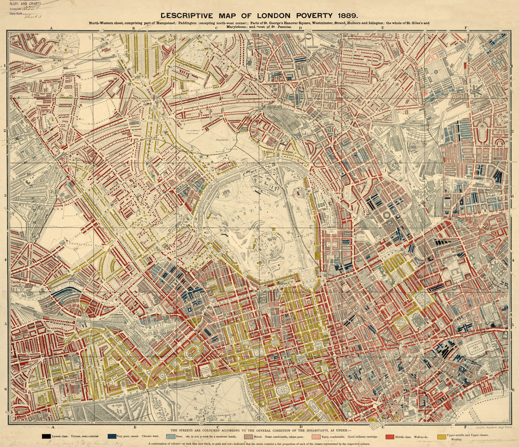 Charles Booths London Poverty Map NorthWest Sheet 1889 I