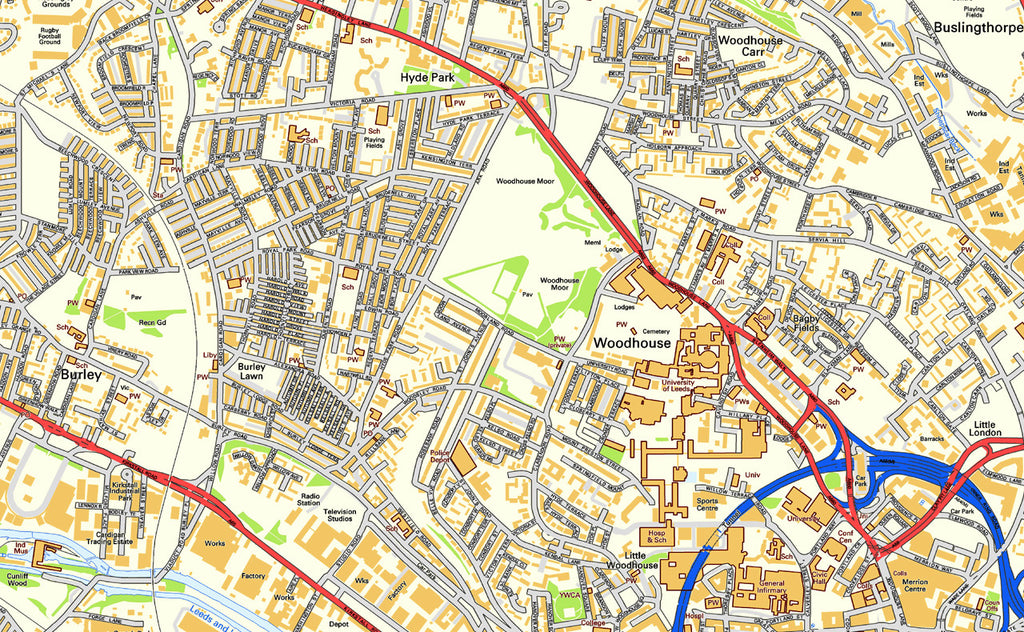 Leeds City Centre Street Map I Love Maps