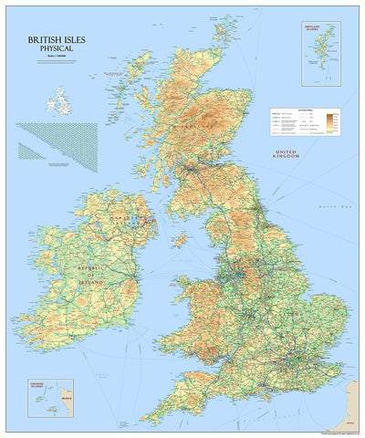 Giant British Isles Map - Mounted 3mm PVC (150 x 180 cm/1.5 x 1.8 m)