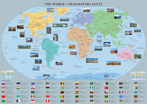 World Map of Fascinating Facts - Paper Laminated - 100cm x 70cm