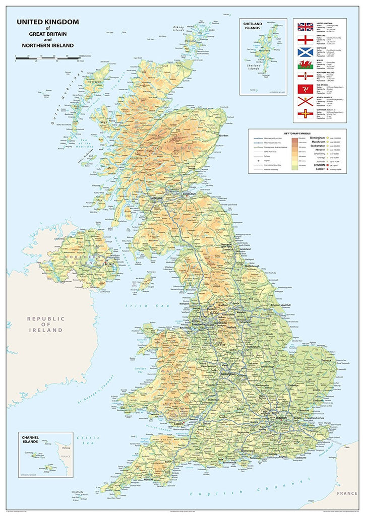 Picture of: Ireland Physical Map A1 Size 59 4 X 84 1 Cm Paper Laminated