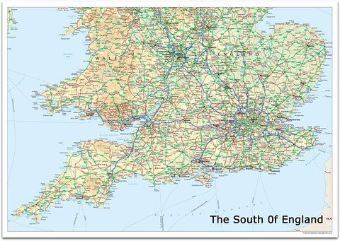 The South of England Map - Includes Cities, Towns and Roads 100cm x 70cm