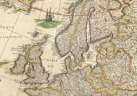 1645 Map of Europe by Willem Blaeu