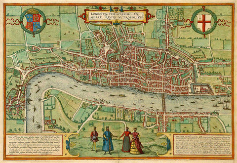 Antique Map of London by Braun and Hogenberg - 1572