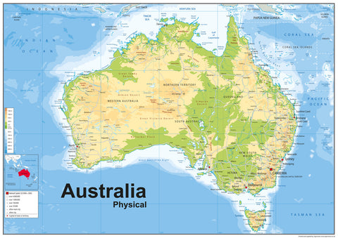 Australia Physical Map