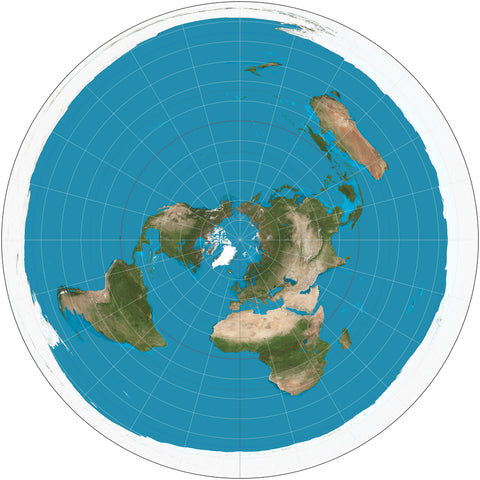 Flat Earth Map 100cm x 100cm - Paper Laminated