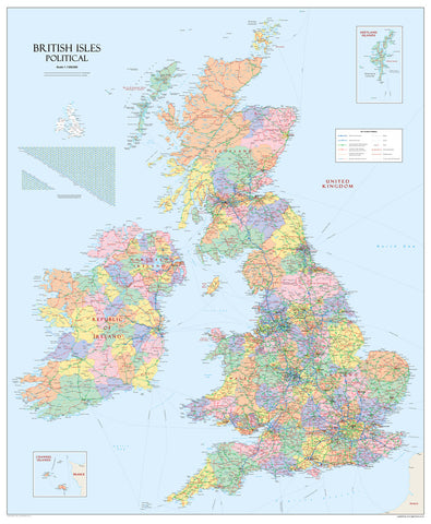 British Isles Political Wall Map