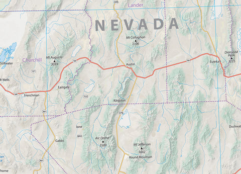 California & Nevada Physical Map