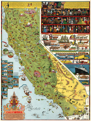 California Illustrated Pictorial Map by Jo Mora - 1945