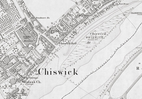 London 1872 Ordnance Survey Map - Sheet LI - Chiswick