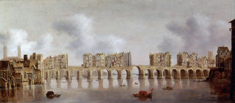 View of Old London Bridge by Claude de Jongh - Large Landscape