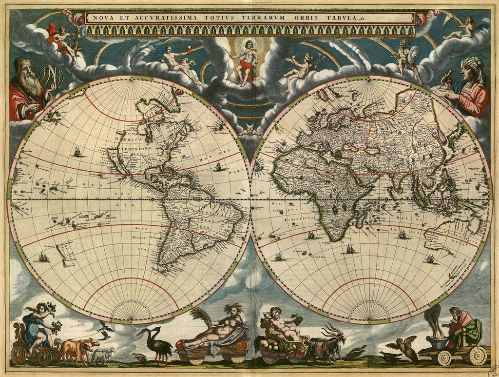 Antique Map Of The World By Joan Blaeu   1684