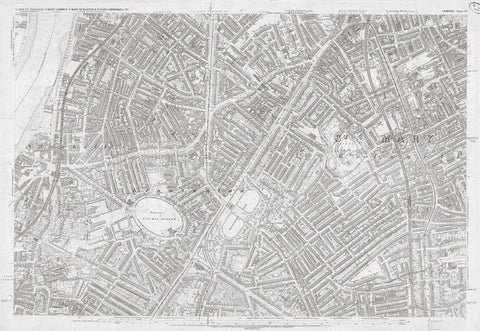 London 1872 Ordnance Survey Map - Sheet LV - Kennington