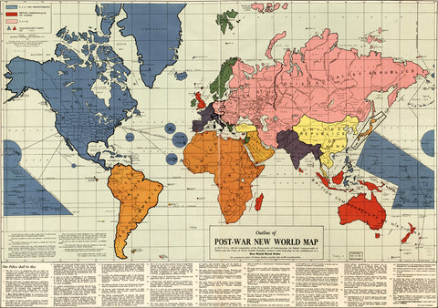 Post-War Political New World Map by Maurice Gomberg - 1942