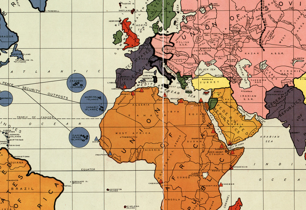 Wonderful ... Post War Political New World Map By Maurice Gomberg   1942