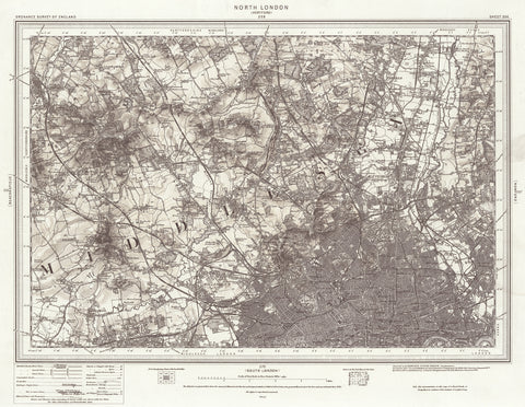 North London Ordnance Survey Map Dated 1869