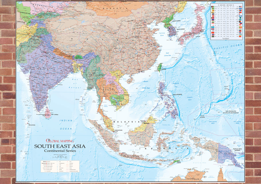 South East Asia Political Mounted Map | I Love Maps
