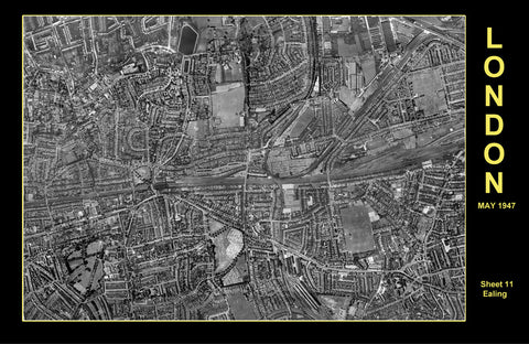 Post-War 1947 London Aerial Map - Sheet 11 - Ealing