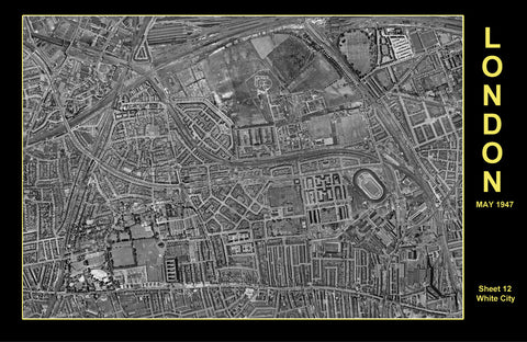Post-War 1947 London Aerial Map - Sheet 12 - White City