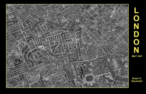 Post-War 1947 London Aerial Map - Sheet 13 - Bayswater