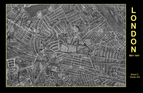 Post-War 1947 London Aerial Map - Sheet 2 - Dollis Hill