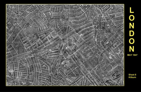 Post-War 1947 London Aerial Map - Sheet 8 - Kilburn