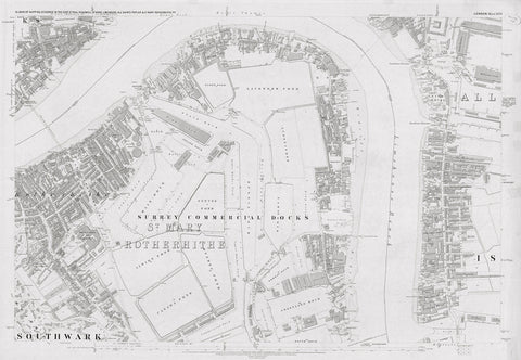 London 1872 Ordnance Survey Map - Sheet XLVI - Surrey Docks
