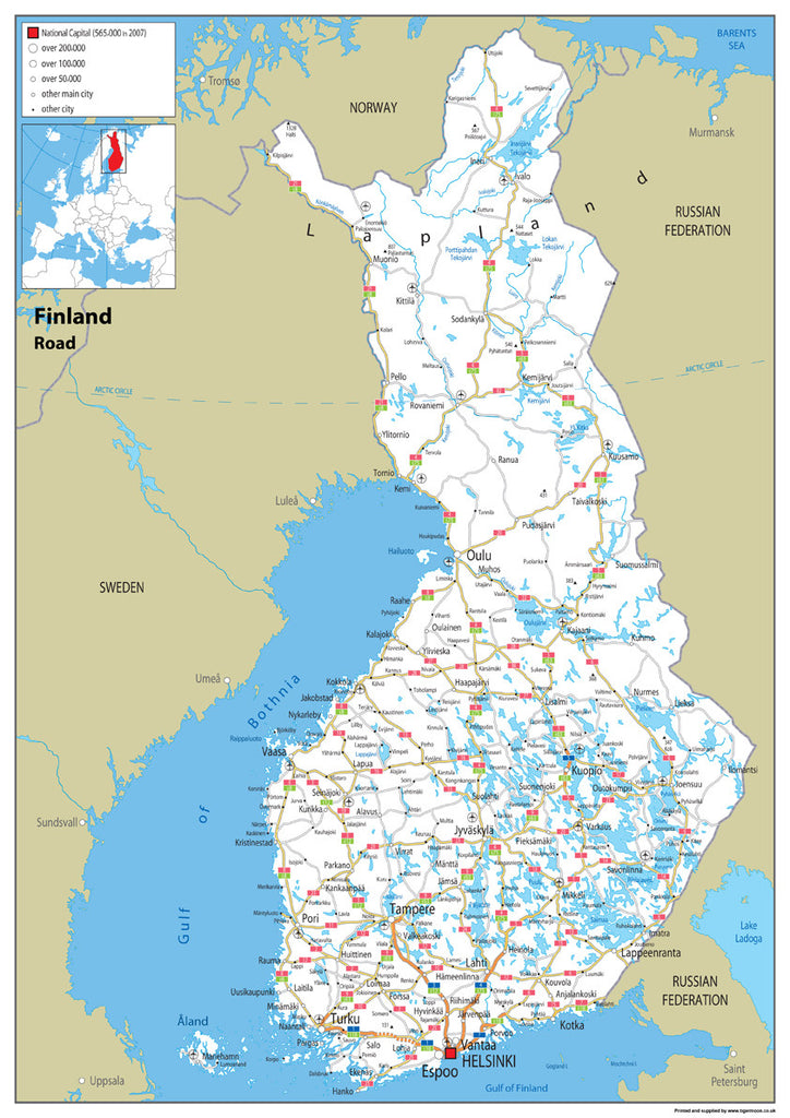 Finland Road Map I Love Maps