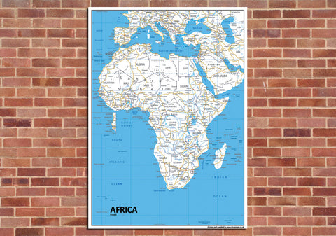 Africa Road Mounted Map