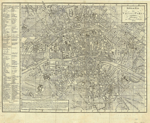 1802 Nouveau Plan de la Ville de Paris - 19th Century map of Paris - French Revolution