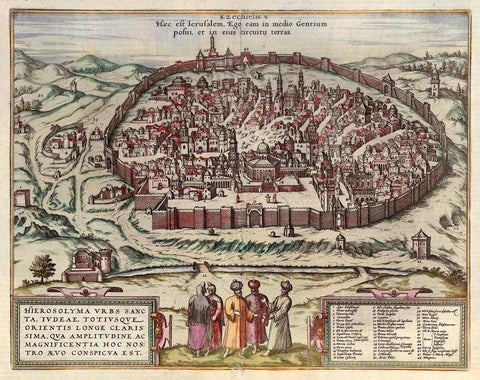 Ancient Map of Jerusalem by Georg Braun and Frans Hogenberg - 1560