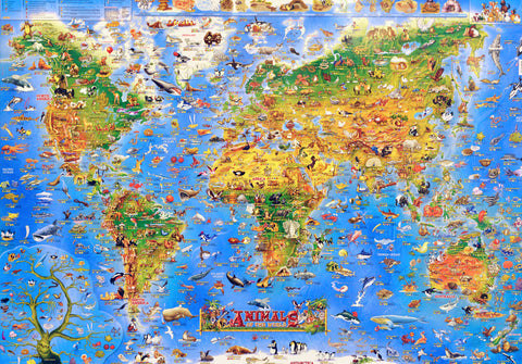 Animals Of The World Children's Map