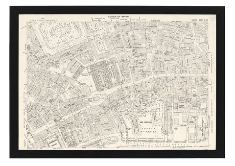 Framed 1850's Historic Map Of Central London