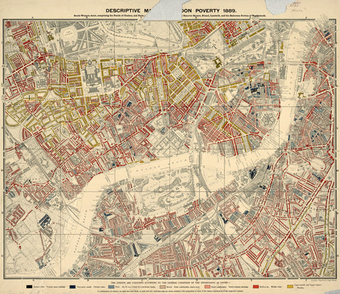 Charles Booth's London Poverty Map - South-West (Central) Sheet - 1889