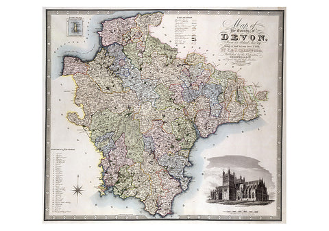 1826 Map Of Devon by C.J Greenwood