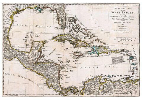 1774 Map of the West Indies by Samuel Dunn