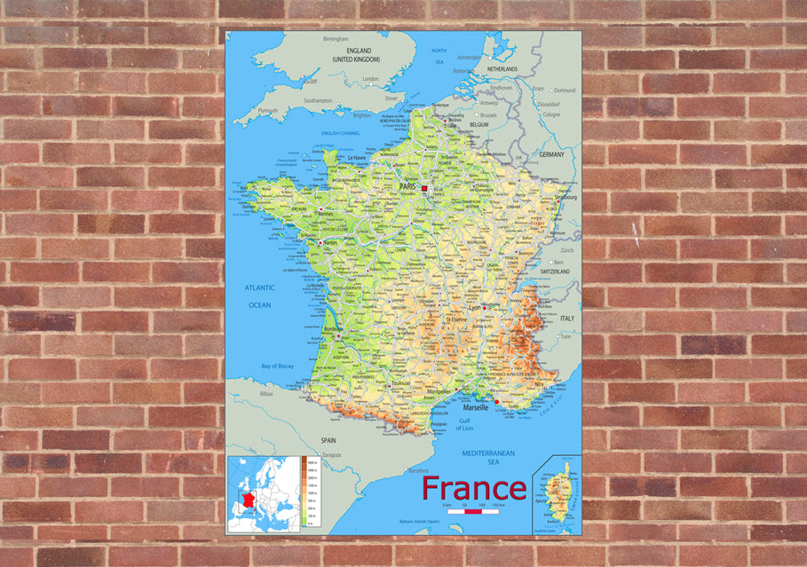 Map Of France Physical.France Physical Mounted Map I Love Maps