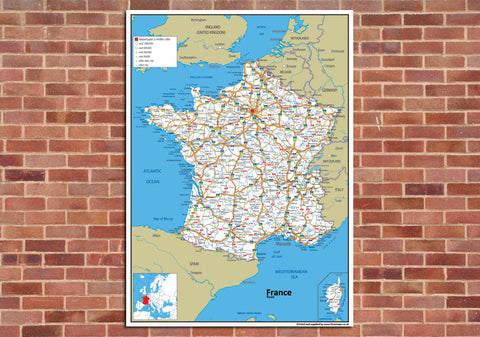 France Road Mounted Map