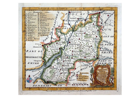 1780 Map Of Glocester by Emanuel Bowen