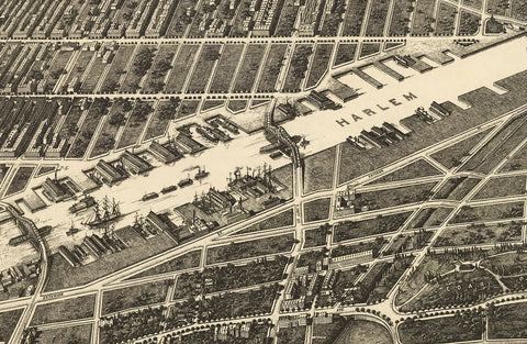 The Bronx New York USA - Long Birds Eye View Map - 1897