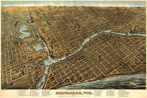 Milwaukee USA Birds Eye View Map - 1872