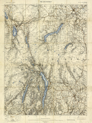 The Lake District Ordnance Survey Map - 1900