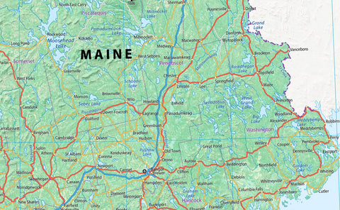 Maine USA Physical Map