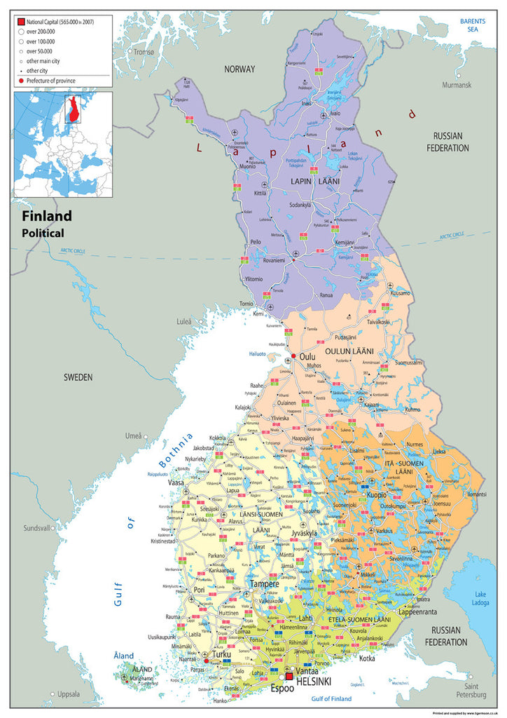 Finland Political Map I Love Maps