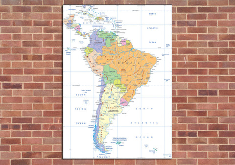 South America Political Mounted Map