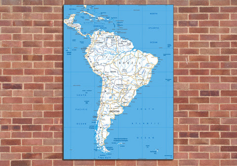 South America Road Mounted Map