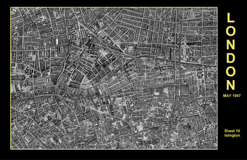 Post-War 1947 London Aerial Map - Sheet 10 - Islington