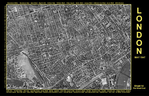 Post-War 1947 London Aerial Map - Sheet 14 - The West End