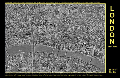 Post-War 1947 London Aerial Map - Sheet 15 - The City